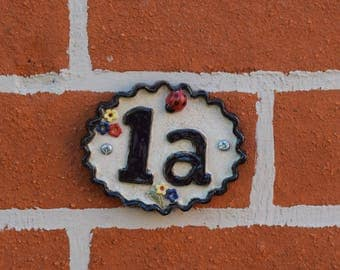 Ceramic House Numbers - 1a and 2a, Door number sign