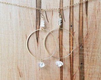 Herkimer diamond and brass abstract earrings