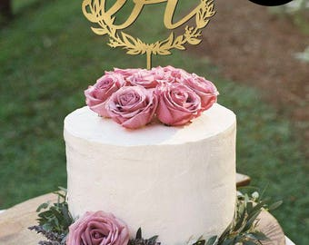 Letter H Monogram Wedding Cake Topper Gold Toppers Initials