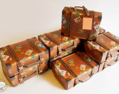 BULK DEAL Set of 10 Travel Suitcase Boxes: Physical Item, Gift Box Brown Trunk design   Pre-cut No Sticking   Wedding Favor, Christmas Gift