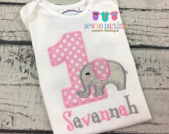 Baby Girl 1st Birthday Outfit - 1st Birthday Elephant Birthday Shirt - Elephant Birthday Outfit - Girl First Birthday Shirt - ANY AGE