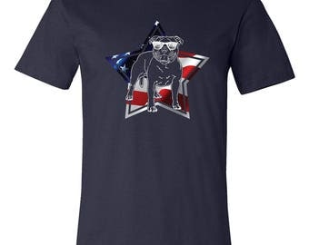 American Pitbull T Shirt, Dog Shirt, 4th of July