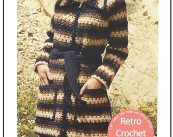 Chunky Jacket 1970's Vintage Crochet Pattern - PDF Instant Download - PDF Crochet Pattern