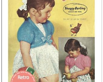 1950s Child's Bolero Vintage Knitting Pattern  - PDF Knitting Pattern - Instant Download