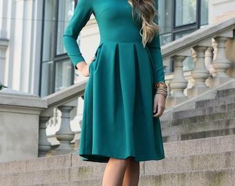 Winter Dress, Emerald Dress, Green Bridesmaid Dress, Classic Dress, Plus Size Dress, Short Formal Dress, Long Sleeved Dress, Winter Clothing