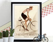 Vintage Style Cyclist, polka dot Jersey,  Bicycle, Bike, Bikes, Cycling Poster Print Gift Home Décor, can be Personalised Tour De France