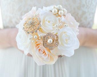 Custom Blush and Ivory Silk Flower Rose Bouquet, Bridesmaids Brooch Bouquet, Bridal Bouquet, Rose Gold, Bouquet Alternative - 6 inch Bouquet