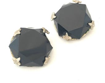Vogue Large Black Faceted Clip On Earrings, Designer Signed Jet Black 4 Prong Setting, Vintage Vogue Black Earrings MCM Couture Professional