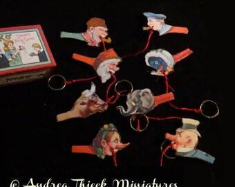 Vintage Hoko Toss Game with 4!!! characters - Artisan Handmade Miniature