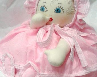 Cloth Doll, shabby chic,  pink Cushion/Pillow with baby face, decoration for bed, girls bedroom