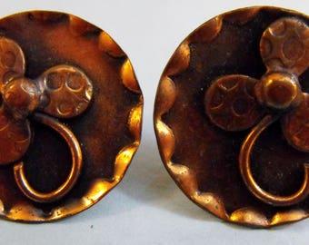 Vintage Copper Screw-back Earrings
