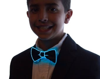 Kids Light Up Bow Tie, Neck, Glow in the Dark, Light Up, Rave Wear, Tron, Costume, LED