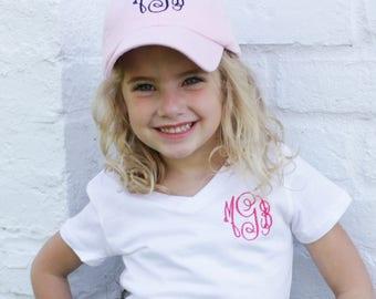 Youth Monogrammed Baseball Cap | Monogram Toddler Hat, Personalized Baseball Cap for Children | Multiple Colors