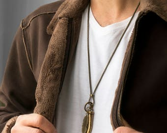 Men's Necklace - Men's Brass Necklace - Men's Jewelry - Men's Gift - Boyfriend Gift - Husband Gift - Gift For Him - Present For Men - Male
