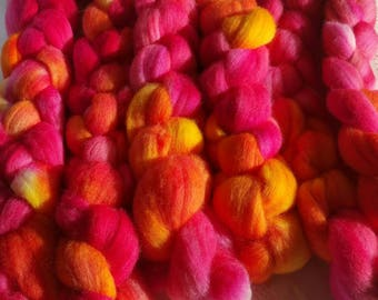 """3 wool roving for spinning or felting """"iced tea"""""""