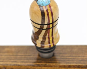 Exotic Wood Bottle Stoppers, Handcrafted Wine Topper, OOAK Woodgrain Stainless Steel Oil Bottle Stoppers