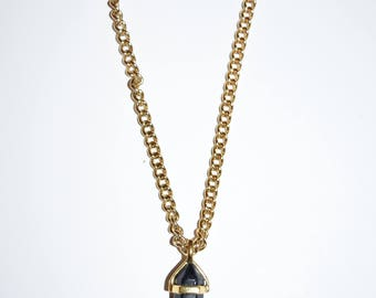 Black Sparkly Crystal Gold Plated Necklace, Jewelry, Custom Jewelry, Handmade Necklace, Gold Chain Necklace