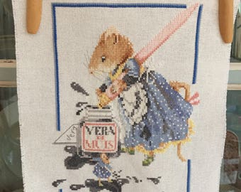 Handmade Vera the Mouse Inkpot Writing Cross Stitch Marjolein Bastin Design