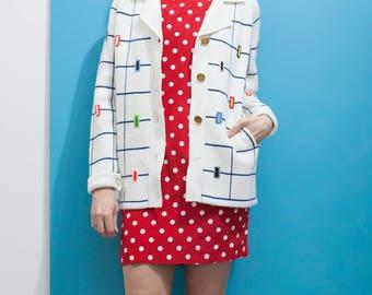 1960s White Navy Mondrian Cardigan // Grid Print Sweater w Pockets  sz. S / M