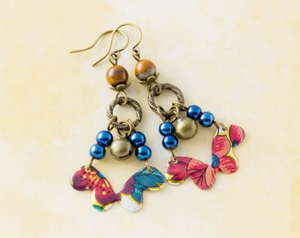 Colorful Bohemian Vintage Tin Bell Earrings with Cobalt Blue Metallic Beads and Stone Beads, Antique Brass Bell Charms, Boho Jewelry