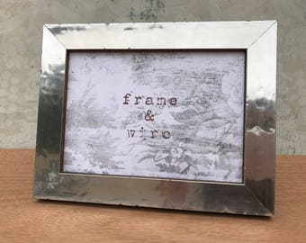 Industrial Steel Picture Frame-Modern Silver Steel and Wood Picture Frame 4x6,5x7,8x8,8x10,10x10,8.5x11,11x14,16x20,18x24,24x30 Custom Sizes