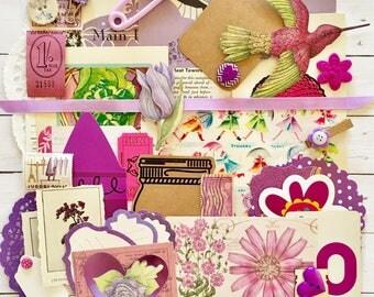 Purple/Lavender/Violet Vintage Ephemera/Scrap Pack/Embellishments/40+ Pieces