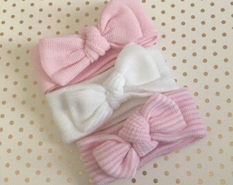 Newborn Girl Knot headbands. Hospital Newborn Headbands,  Set of 3 Mini Headbands,  Newborn's First Headbands, newborn girl hospital bow.