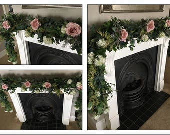 Artificial greenery garland table swag, table runner, top table centerpiece wedding ceremony arch floral foliage & artificial blush roses