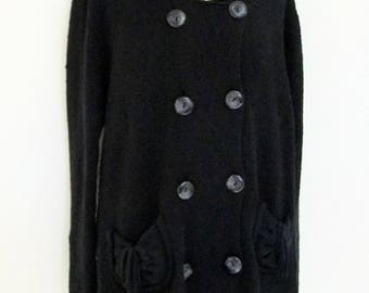 Double Breasted Cardigan, Women's Cardigan, Black Sweater made by Philippe le Bac Paris, French Fashion, Paris Fashion, Summer Sale