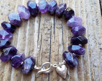 Amethyst Bracelet and Hill Tribe Silver, Large Amethyst Nugget and Sterling Silver, Karen Hill Tribe Heart Charm, February Birthstone