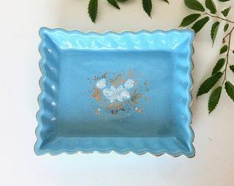 Vintage Nor-So Dish - Fluted, Light Blue & 22 KT Gold Tray - Hand Painted Floral Detail