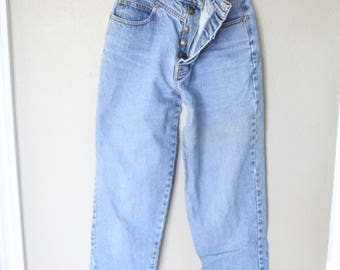 vintage 1980's high rise button fly lawman mom  jeans denim 26