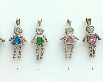 """Sterling Silver and Gemstone """"People""""/Birthstone Kids Charms - Male and Female Silver and Gemstone Charms - Baby Gift"""