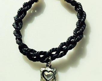 Braided Black Leather Bracelet With Swarovski Crystal Heart Charm