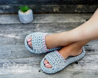 CROCHET PATTERN- women and men spa&wellness slippers,all sizes,slip ons,shoes,loafers,scuffs,adult,t-shirt yarn,unisex,spaghetti yarn