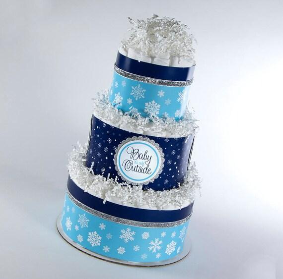 Diaper Cake - Diaper Cakes - Winter Diaper Cake - Winter Baby Shower - Baby Shower Decor - Baby it's Cold Outside - Winter Theme Baby Shower