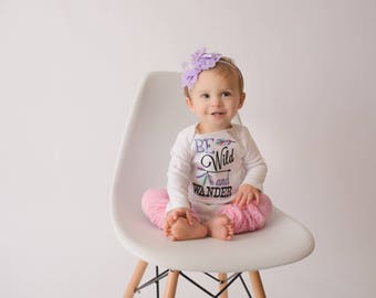 Be Wild and Wander Bodysuit or shirt, legwarmers, and  headband Set can be customized