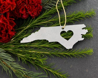 Love North Carolina NC State Aluminum Metal Christmas Ornament Rustic Home spring Decor Personalized Housewarming Wedding Gift for Him Her