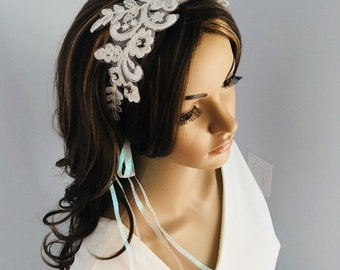 Bridal headband appliqué lace with rhinestone accents