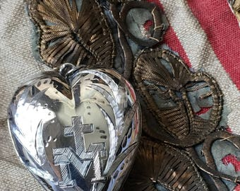 1800s antique French sterling ex voto, 19th century sterling silver Sacred Heart reliquary