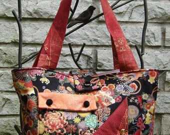 Pocket Tote Bag - Asian-influenced Black with Floral Pring
