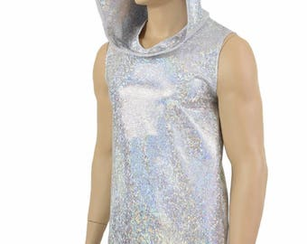 Mens Silver on White Shattered Glass Holographic Sleeveless Hoodie Shirt with Self-Lined Hood Rave Festival Clubwear 154685