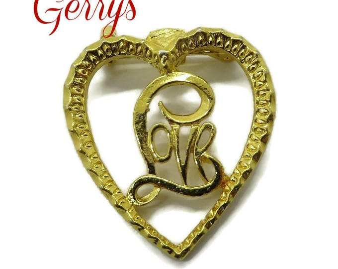 Brooch - Vintage Gerry's Love Heart Gold Tone Brooch Pin, Gift for Her, FREE SHIPPING