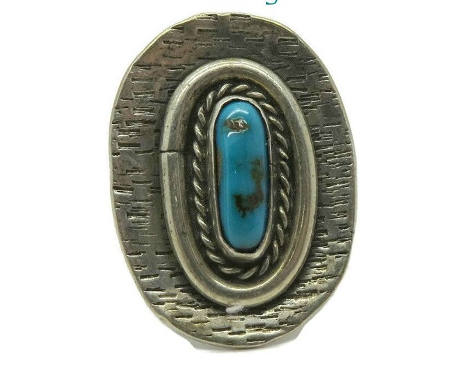 Navajo Turquoise Ring | Vintage Sterling Silver Shield Ring | Native American Statement Ring | Size 6
