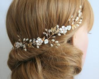 Gold Bridal headpiece Gold Wedding headpiece Gold bridal vine Wedding Hair crown Bridal Hair vine Bridal Pearl vine Bridal accessories