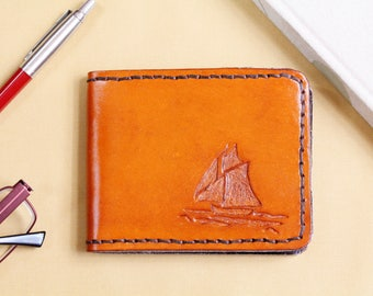 Yacht Hand Carved Leather Wallet Leather Bifold Wallet Nautical Gift Husband Leather Billfold Wallet Gift Dad Credit Card Wallet Ship Wallet