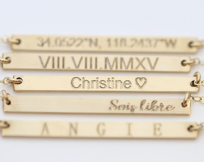 Personalized Name Plate Necklace • Skinny Bar, Custom Coordinates, Name Necklace • Roman Numeral Wedding Date Jewelry