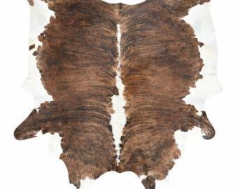 Cowhide Rug, Cow Hide, Brindle, Brown, White, Black, Tricolor, Exotic, Brazilian, Fur Rug, Hair on Hide, Genuine Hide, Pelt, Rustic Decor