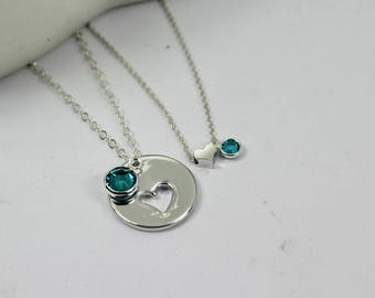 Heart Birthstone necklace. mother daughter heart set . Aunt and Niece Necklaces.  Mother and child Birthstone . Birthstone Jewelry.Match set