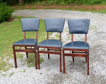 RESERVED Vintage Stakmore Folding Chair Wood Black Vinyl Mid Century Modern Fold a Way Seating USA  Panchosporch